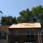 Roofing job in progress
