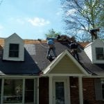 In-progress roof replacement in Bethesda MD