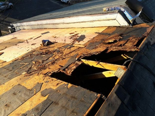 Torn up roof