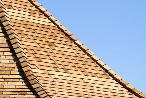 close up of cedar shake roof