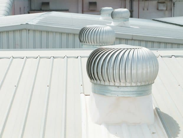 detail of metal roofing on commercial construction