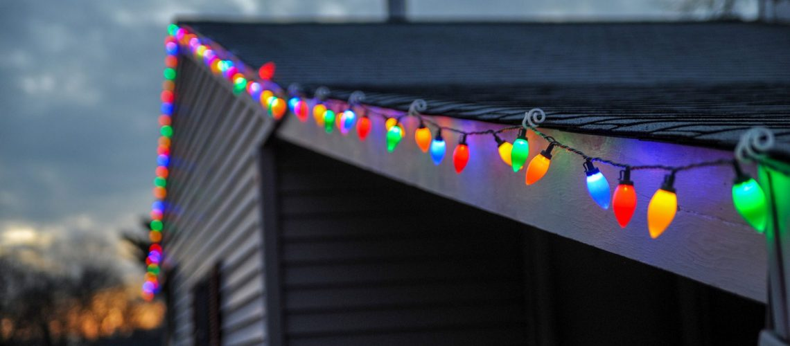 Christmas lights strung on a roof